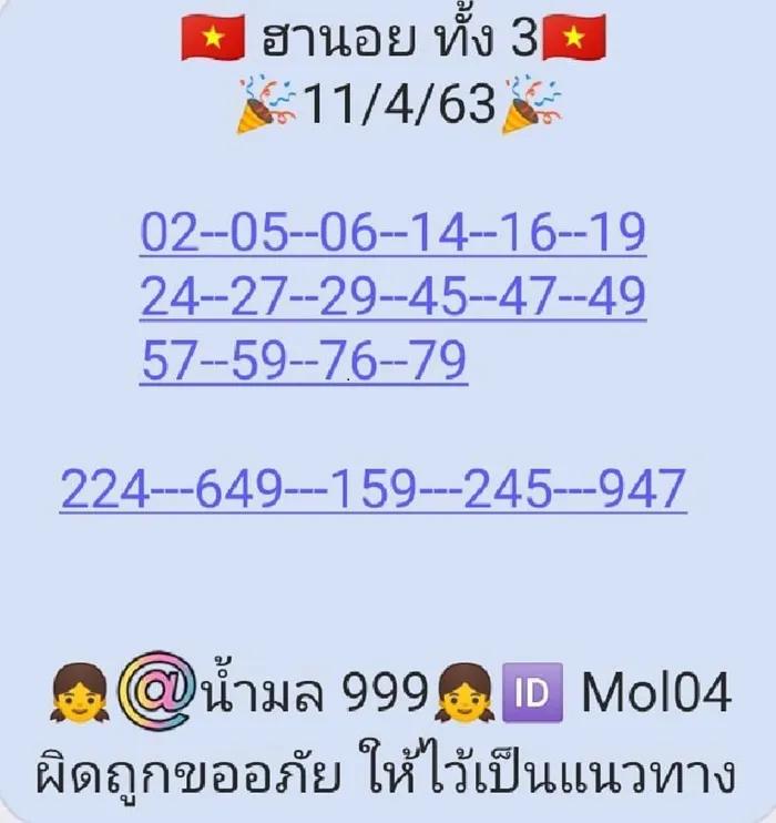 แนวทางหวยฮานอย 11/4/63